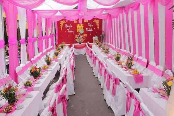 Không gian tổ chức tiệc cưới luôn ngăn nắp, sạch sẽ
